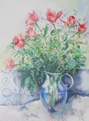 Garden roses in kitchen