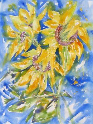 Storm of Sunflowers £399 inc mount & frame