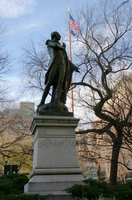 Lafayette Statue & Park Flag