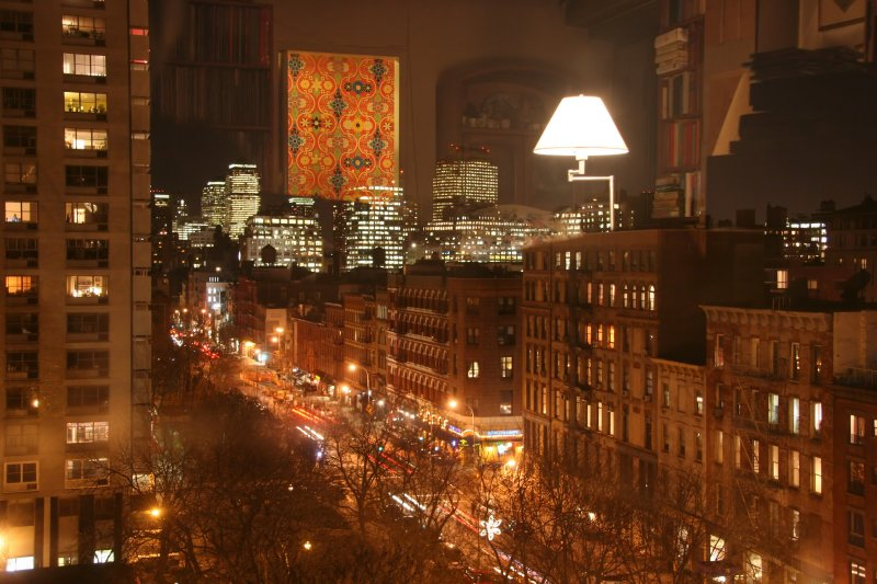 Downtown Manhattan with Living Room Window Reflection