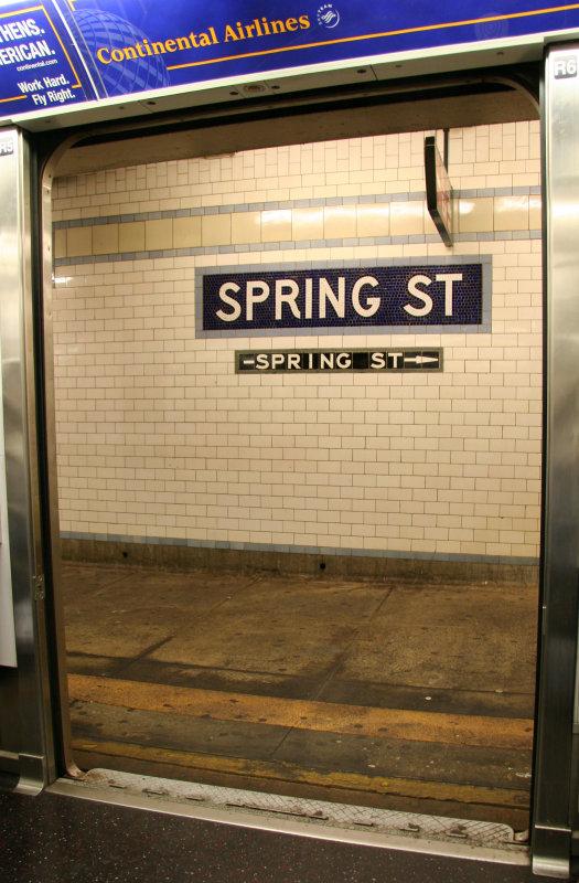 Spring Street Subway Stop - View through Subway Car Doors