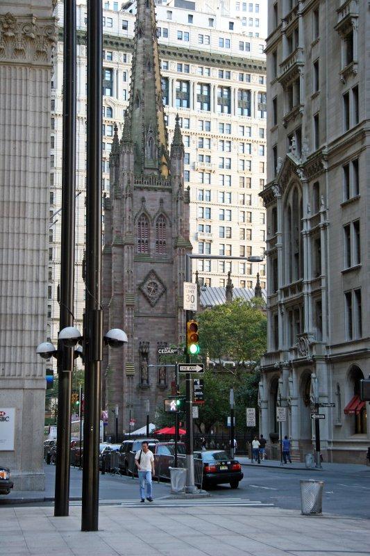 Trinity Church on Broadway from Liberty Street