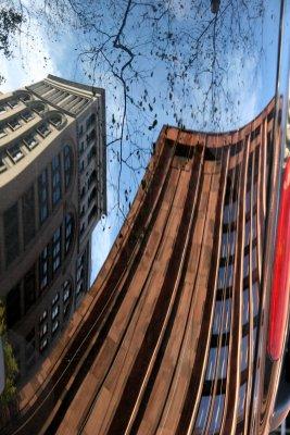 NYU Library & Business School Building - Car Window Reflection