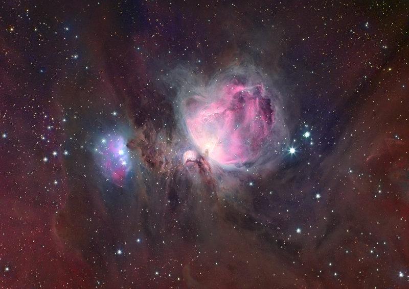 Orion Nebula complex in colour
