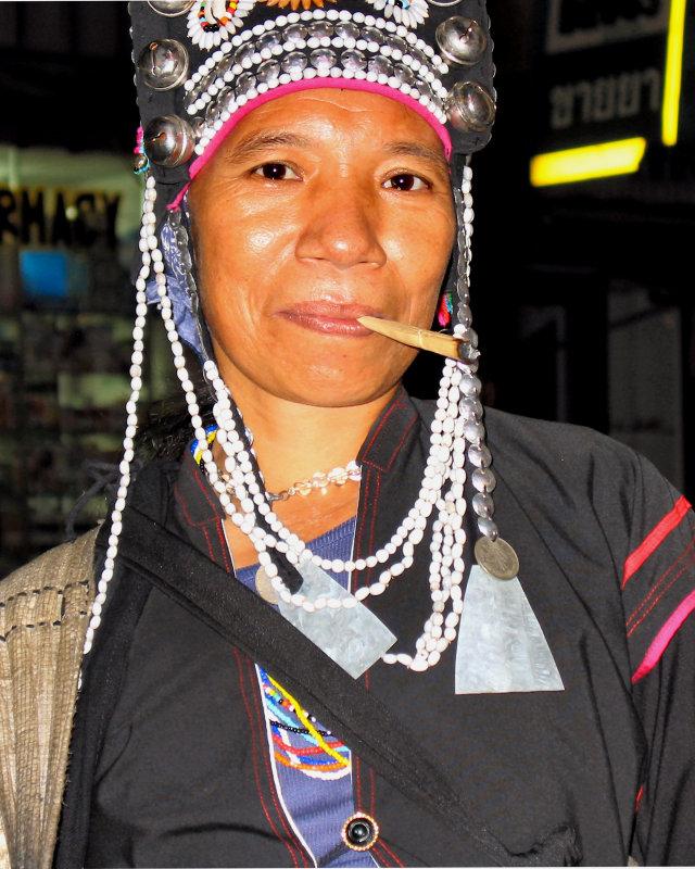 Street Seller Smoking a Cigarette