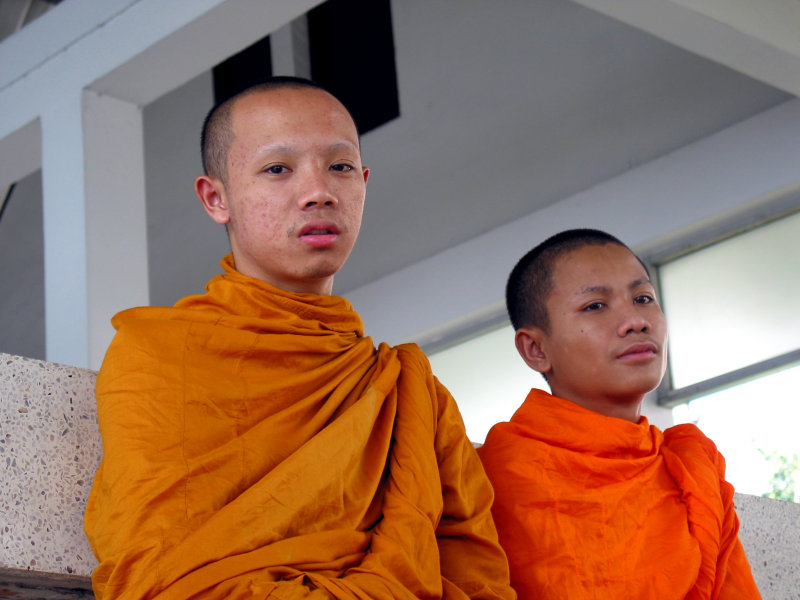 Two Teenage Monks Waiting for The Chao Praya River Bus