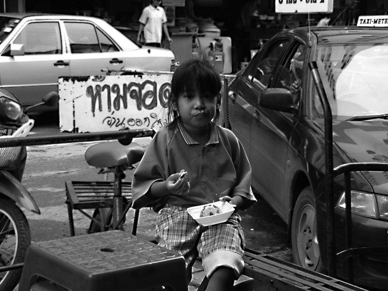 Little girl on Her Lunch Break at Talad Rangsit