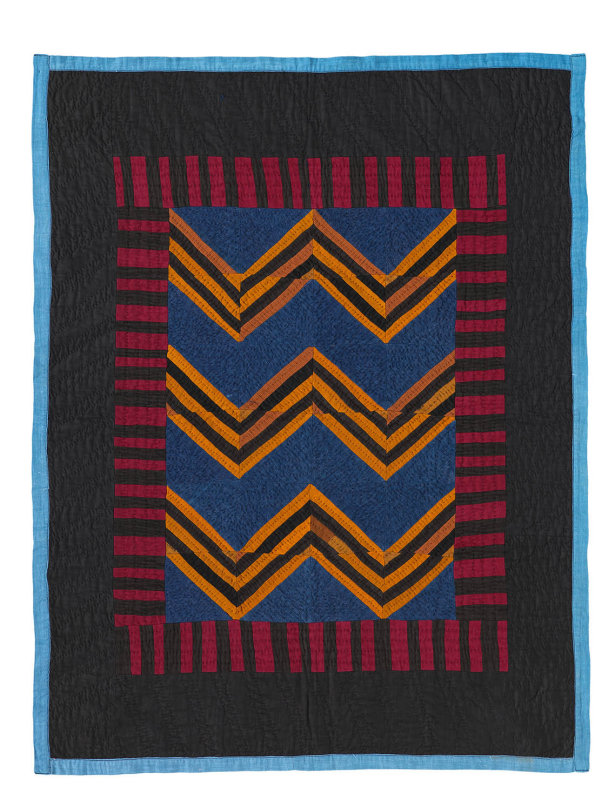 094: ZigZag (Roman Stripe variation) crib quilt, Haven, KS circa 1930 35x26