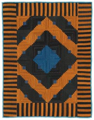 092: LogCabinVariation crib quilt, Arthur, IL circa 1925 35x26
