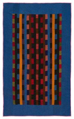 099:Bricks in Bars crib quilt, Ada Gingerich, Arthur, IL circa 1930 46x76