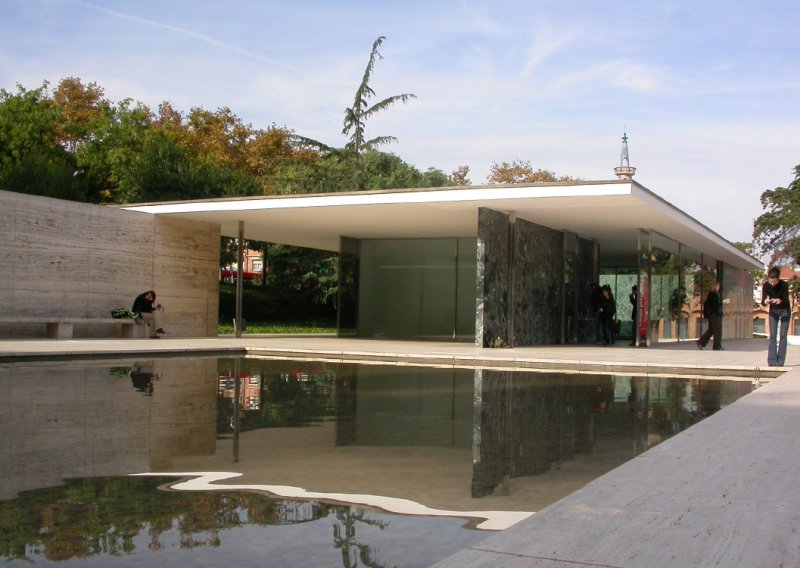 Reconstructed 1937 pavilion by Mies van der Rohe