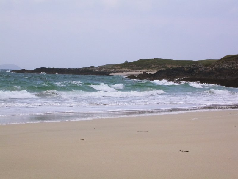 sandy beach & excellent swimming, Traigh na Cleabhaig with chapel ruin on horizon
