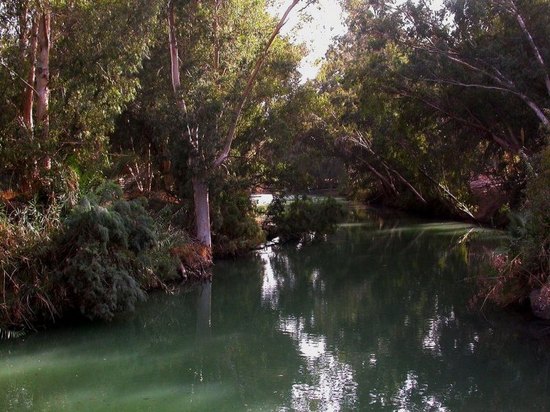 the River Jordan at the tradtional baptism site (or convenient place for a visitor centre)