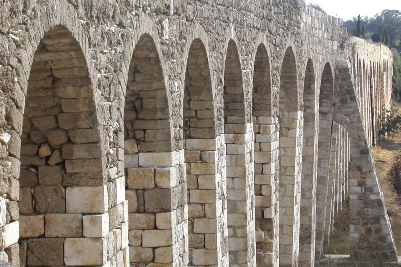 the Roman aqueduct supplying Tyre from the mountains at Lebanon border