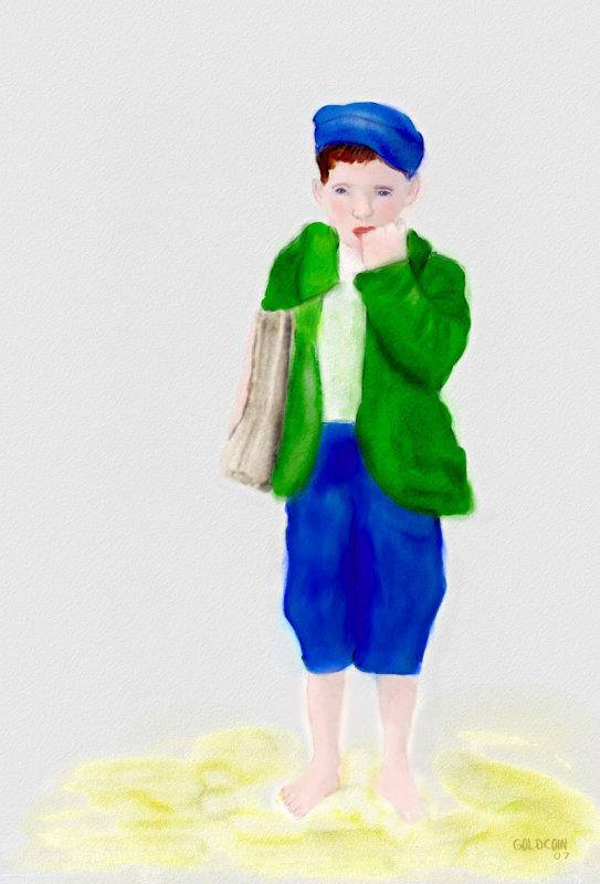 Newspaper Boy Watercolor