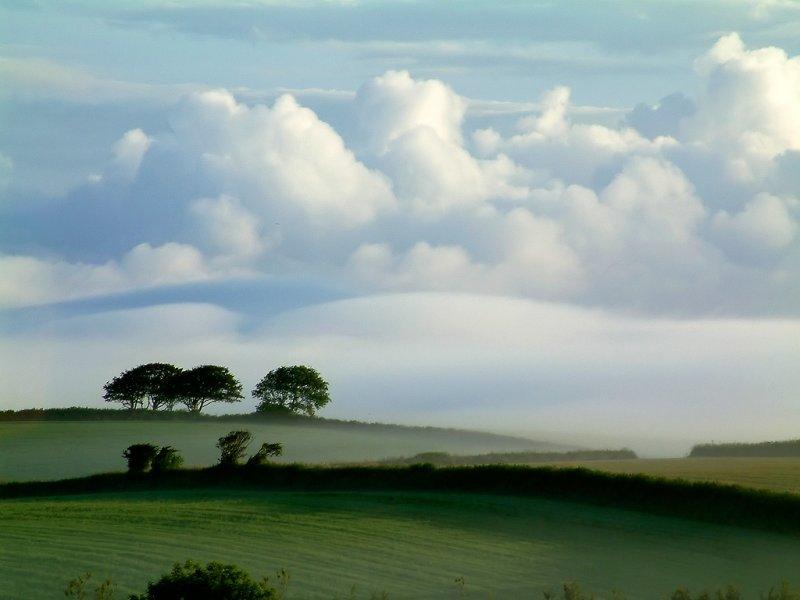 Mist and hills near Dittisham (3759)