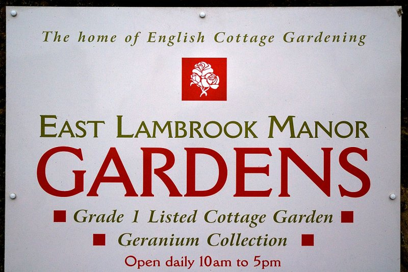 Welcome sign, East Lambrook Manor Gardens