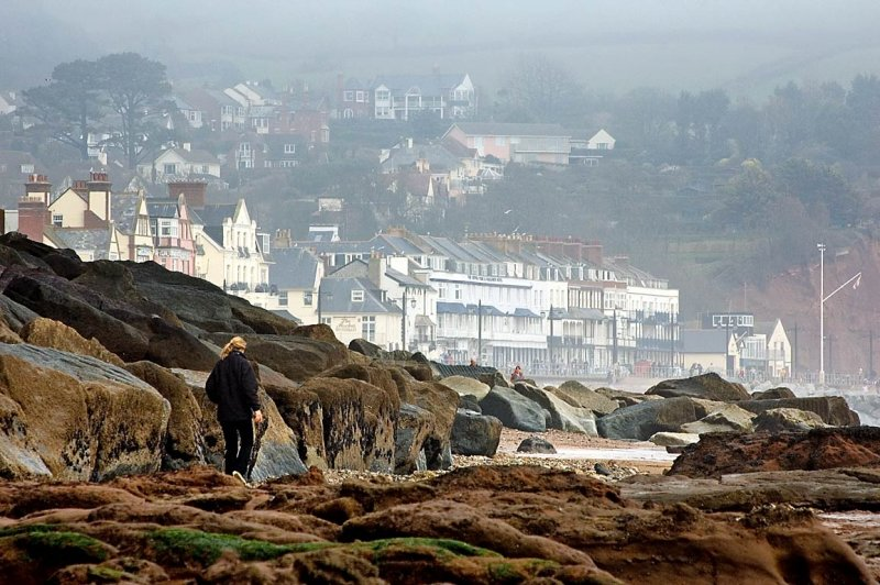 Rocks and town, Sidmouth