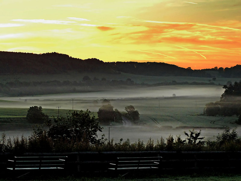 Misty sunrise, near Glastonbury (1617)