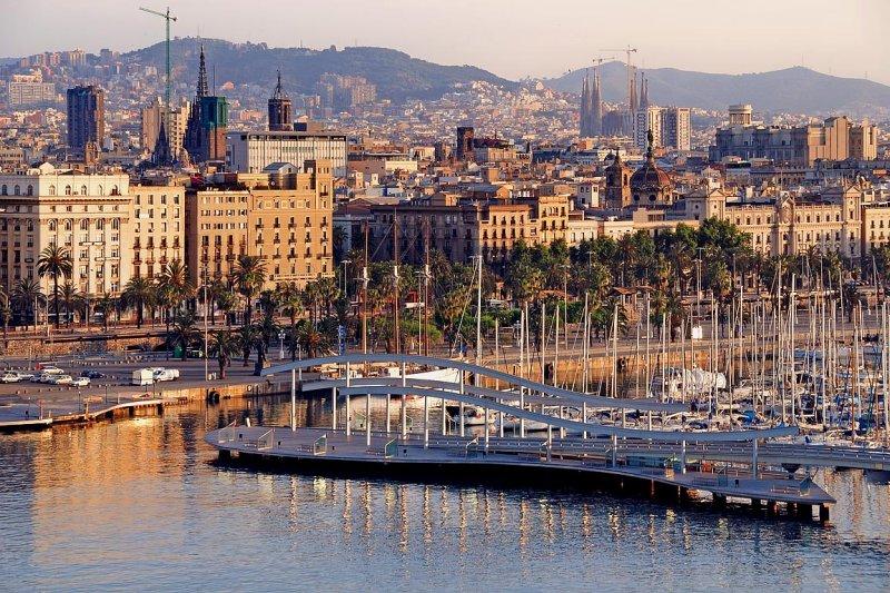 Swing-bridge and city, Barcelona