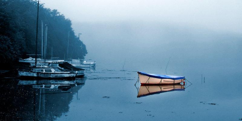 White boat on blue, Dittisham