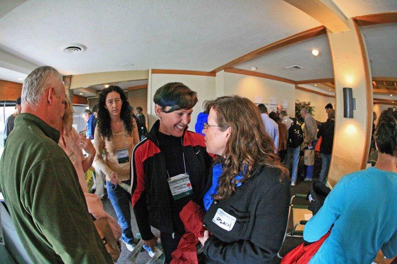 Donna Saufley  ( L-Rod ) Chats With 2005 thru-hiker Splash At Vendor Fair