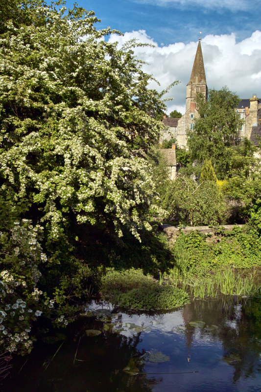 Malmesbury from river, Wiltshire, UK