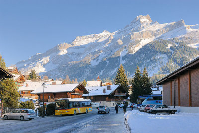 The post bus in the Village of Les Diablerets.