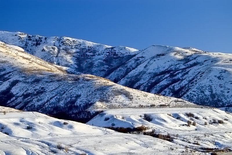Extinct Lake Bonneville Benches (Beaches) Evident in Winter Snow