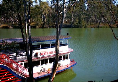 Moored paddleboat on the Murray
