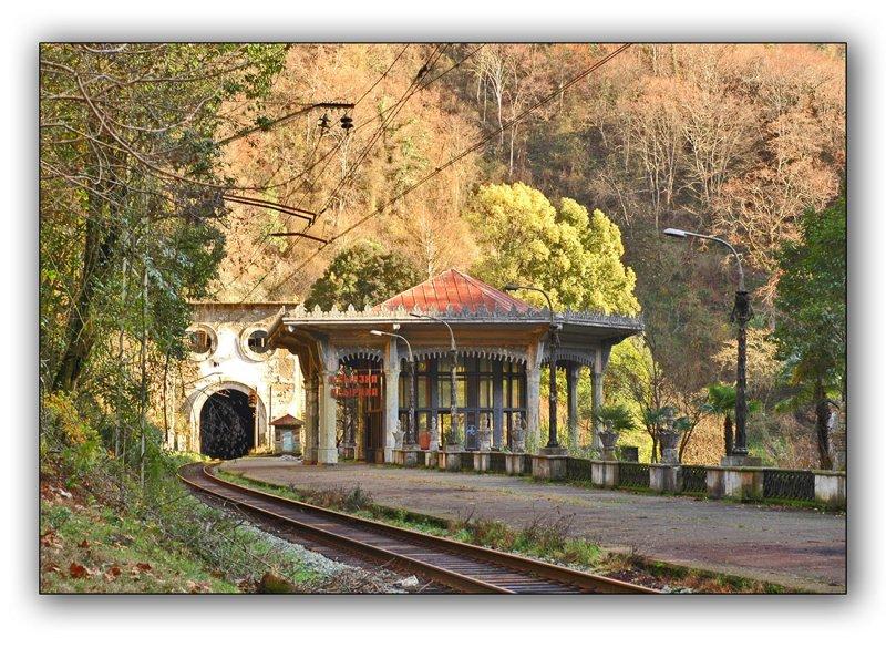 Abkhazia, abandoned railway station Psyrtskha