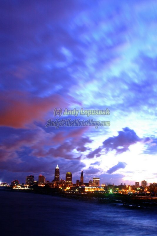 Cleveland, Ohio at dawn from Edgewater Park