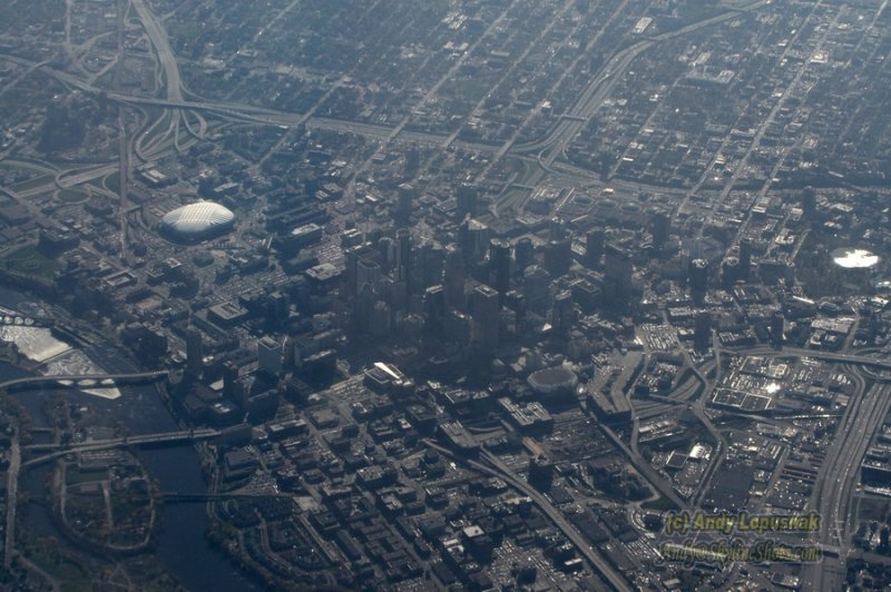 Aerial of downtown Minneapolis, Minnesota