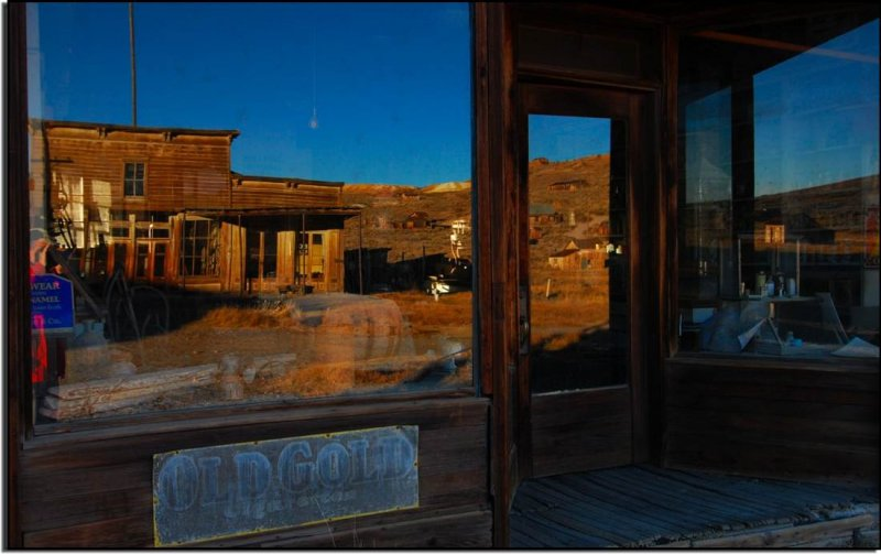 View of Bodie in the General Store Window