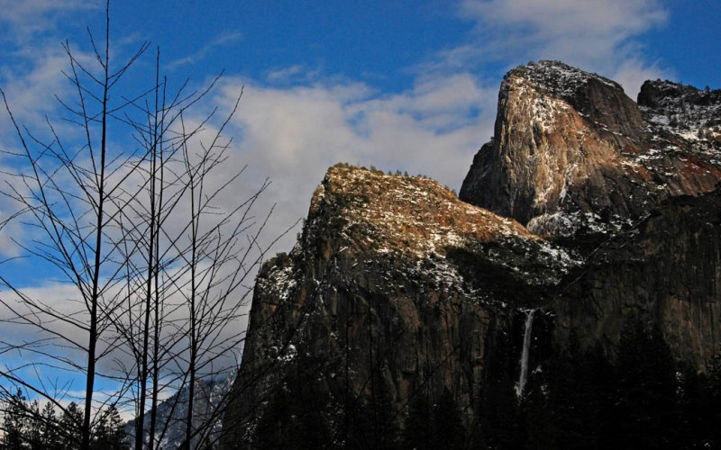 Bridalveil and Cathedral Rocks