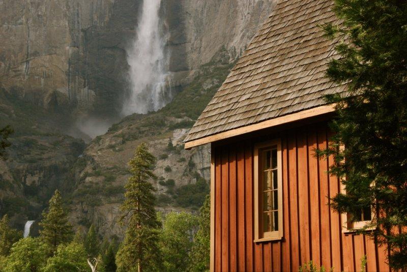 Yosemite Chapel and Yosemite Falls