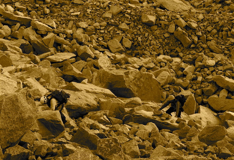Dan and Javier head up to their high camp