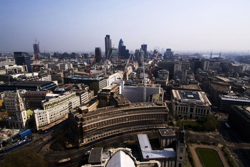 Looking east from St. Pauls Cathedral Golden Dome