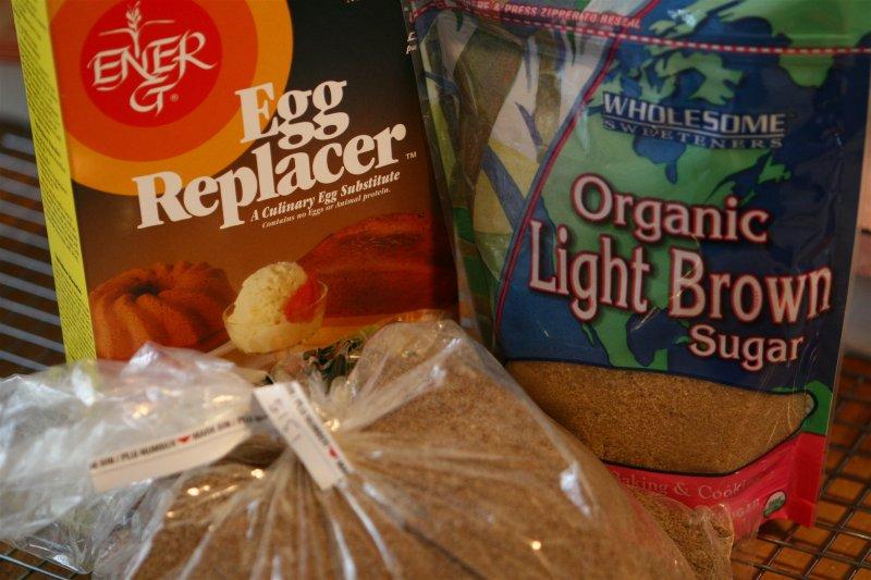 sucanat, light brown sugar<br> & egg replacer</br>