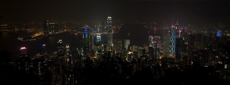Hong Kong night pano from the Peak, Sep 07