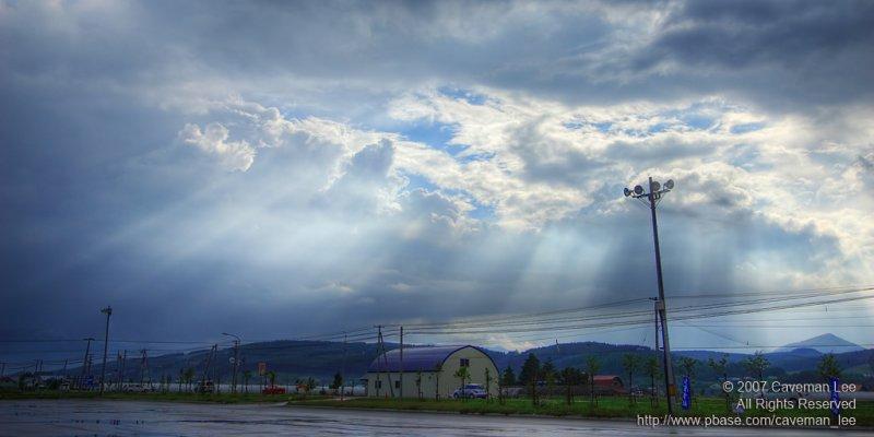 Crepuscular rays over Hokkaido