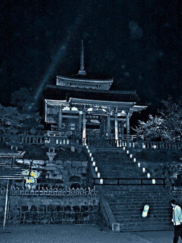 Kiyomizu main temple at night