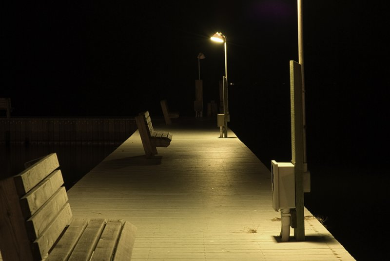 night time at the dock