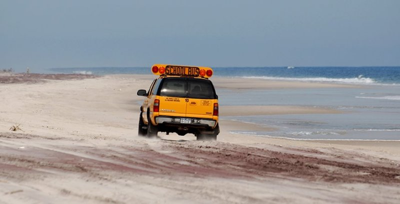 bus on the beach