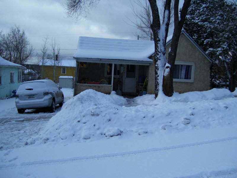 Tracys house in the snow