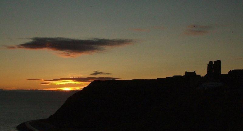 Dawn breaks over Scarborough Castle