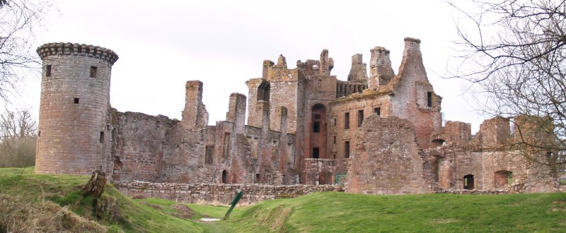 Caerlaverock Castle,viewed from the south,across the moat.