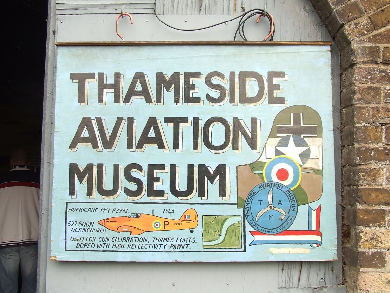 Thameside Aviation Museum sign.