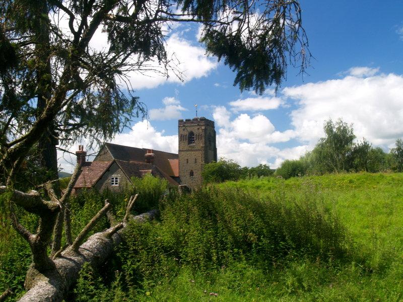 Clungunford church,seen over the motte.