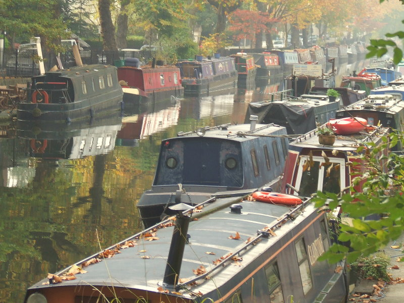 Canal boats moored at Little Venice.